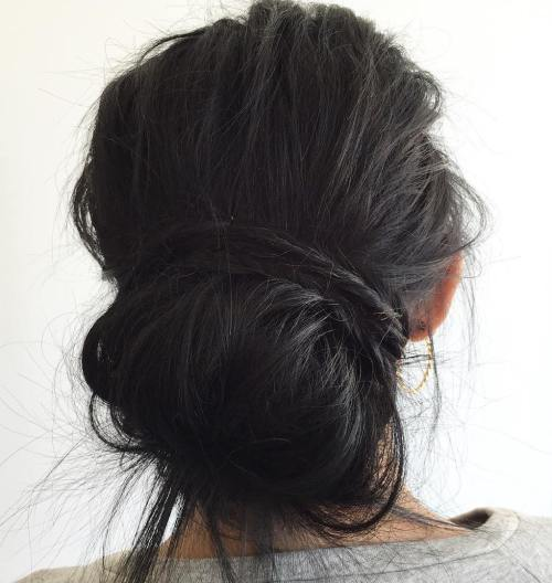 Tousled Low Bun Updo For Long Thick Hair