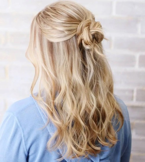 Wavy Half Updo With A Bun