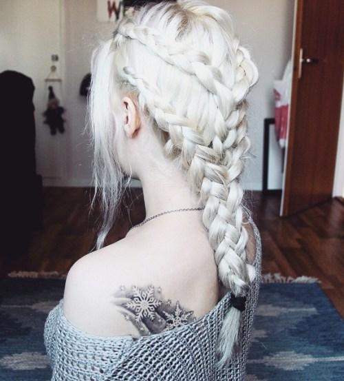 Intricate Platinum Blonde Braids