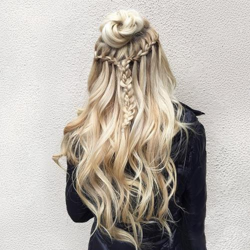 Half Up Bun With Braids