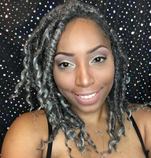 Gray Kinky Curly Faux Locs
