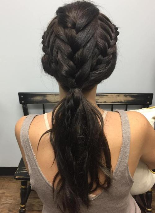 Low Ponytail With Tripple Braids