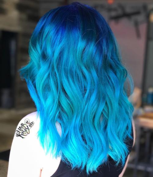 Ocean Colored Medium Hair