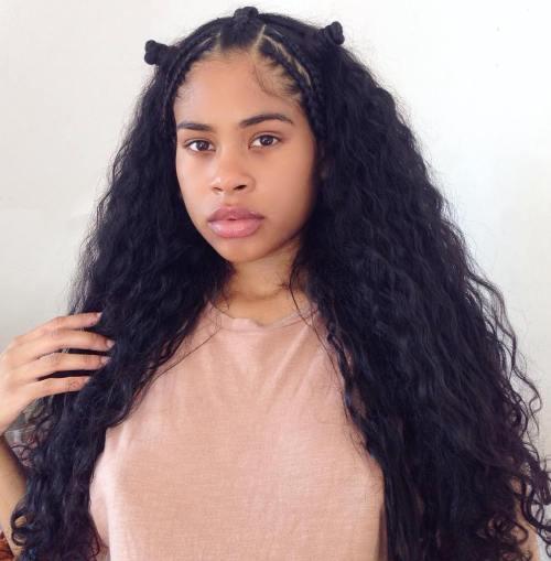 Lohg Kinky Curls With Mini Buns