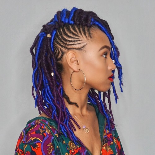 Medium Side Swept Layered Faux Locs