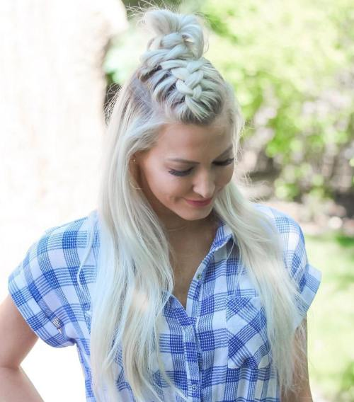 Half Up Top Knot With A Braid