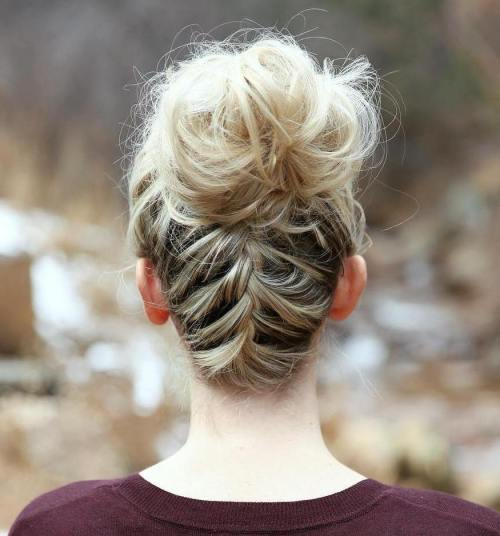 Tousled Bun With A Braid
