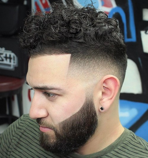Curly Top With Line Up And Fade