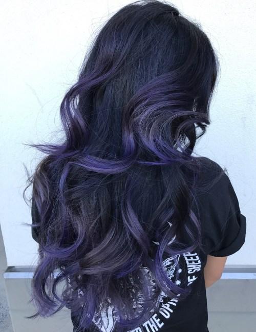 Lila blaues Balayage für schwarzes Haar