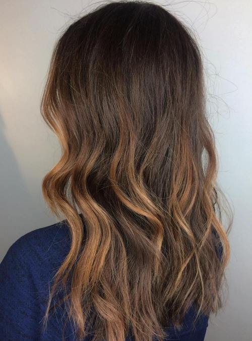 Partial Caramel Balayage For Brown Hair