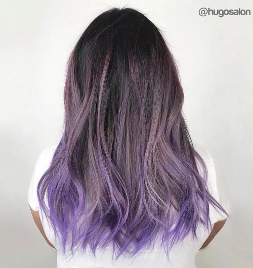 Ash Brown Balayage With Purple Ends