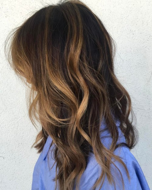 Brown Hair With Partial Caramel Highlights