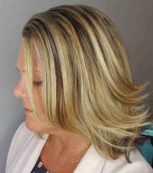 Flpped Lob With Golden Highlights