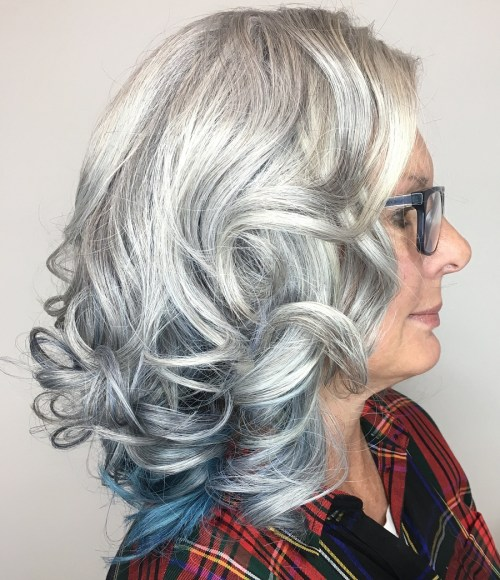 Grey Curls With Blue Underlayer