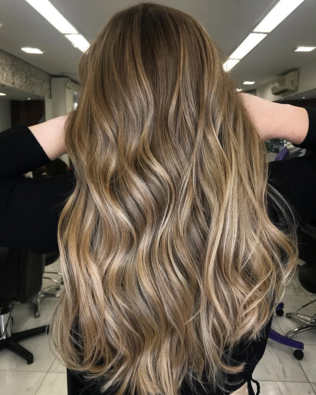 Caramel balayage on dirty blonde hair