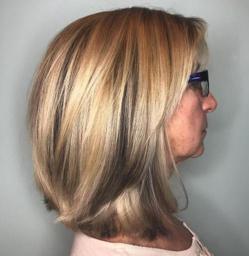 Medium Bob With Grey Lowlights
