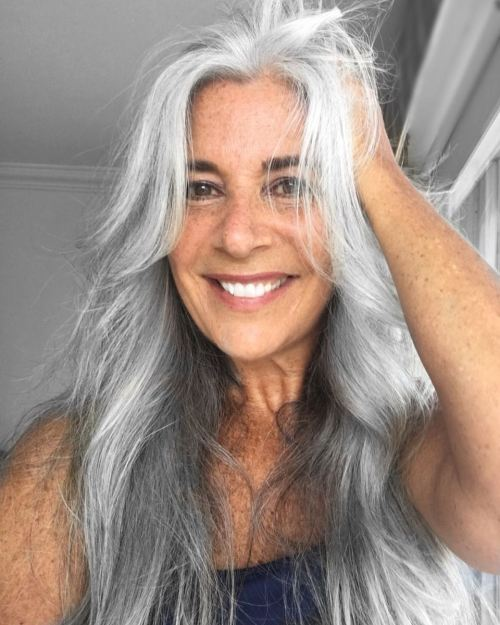 Long And Gray Hair For Older Women