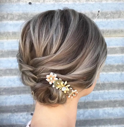 Low Updo With Jewelled Barrette