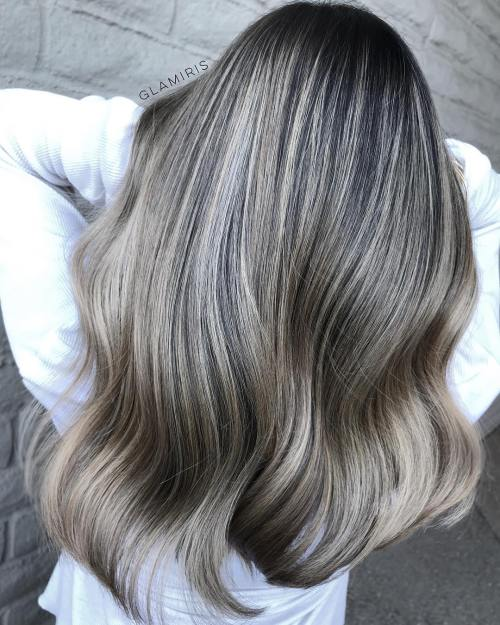 Dark Grey Hair With Babylights