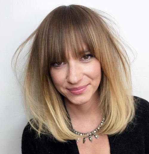 Ombre Lob With Full Bangs