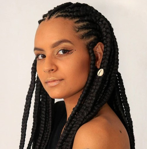 Box Braid Hairstyle with Cornrows at the Frontline
