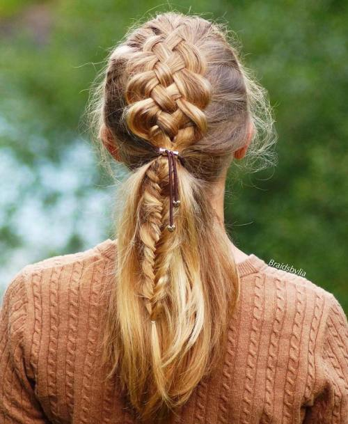 Strand Braid Into Low Ponytail