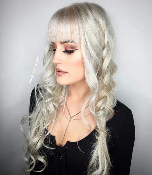 Half Braided Silver Hairstyle