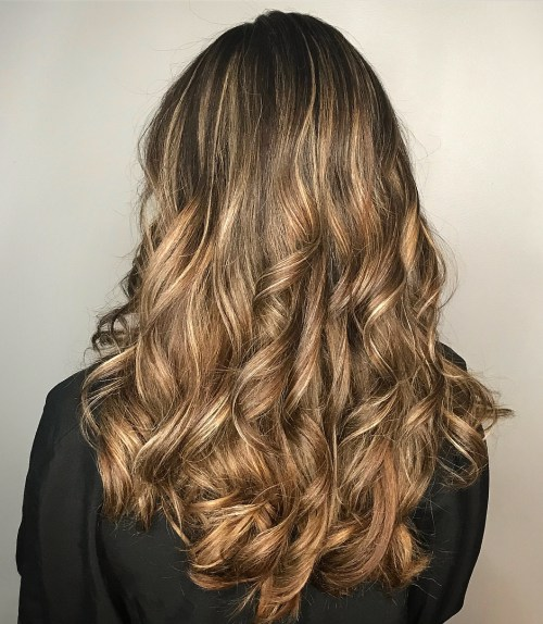 Long Brown Curls With Blonde Balayage