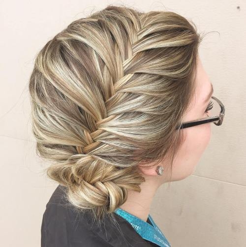 Side Bun With Fishtail Plait