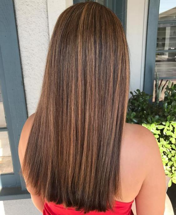 Straight Brown Hair And Caramel Highlights