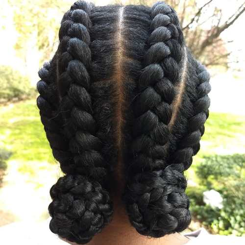 Chunky Low Braided Buns