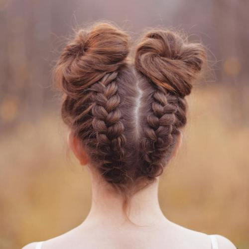 High Braided Space Buns