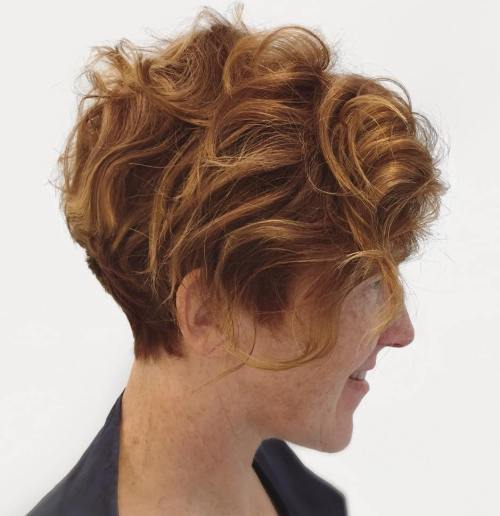 50+ Red Wavy Messy Pixie