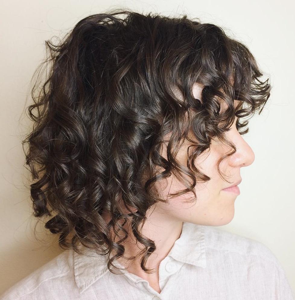 20/'/' Layered Loose Curly Cut w// Long Bangs Chocolate Brown Wig