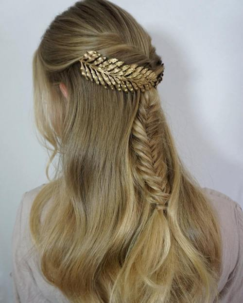Decorated Fishtail Half-Updo