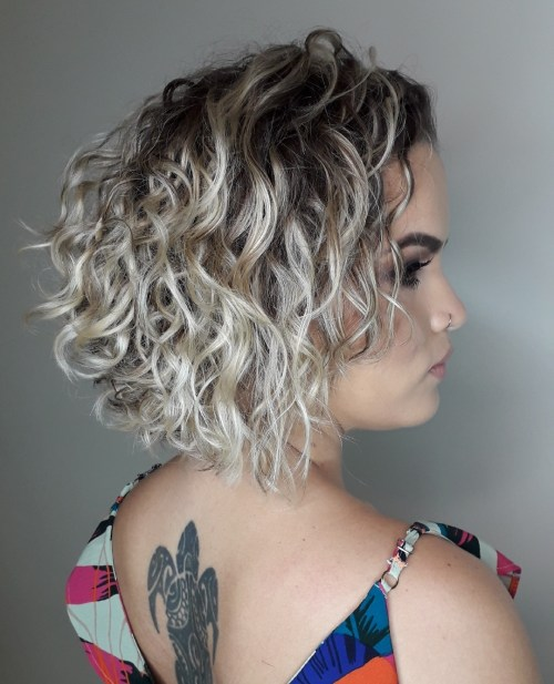 Blonde Curly Bob With Shadow Root