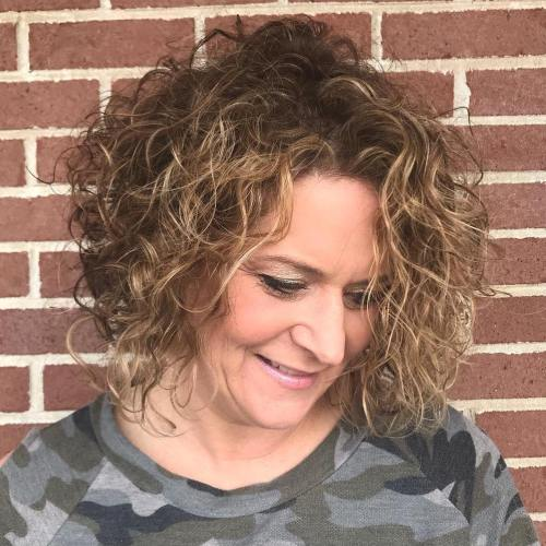 Curly Brown Bob with Subtle Highlights
