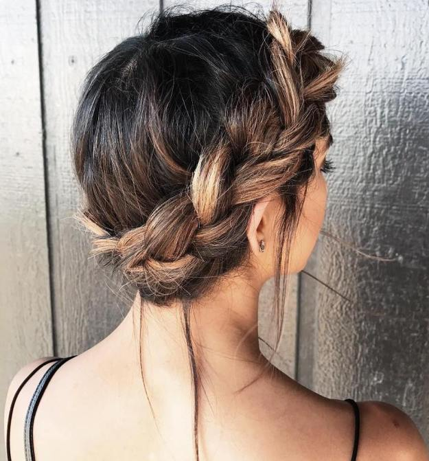 Charming And Messy Crown Braid Updo