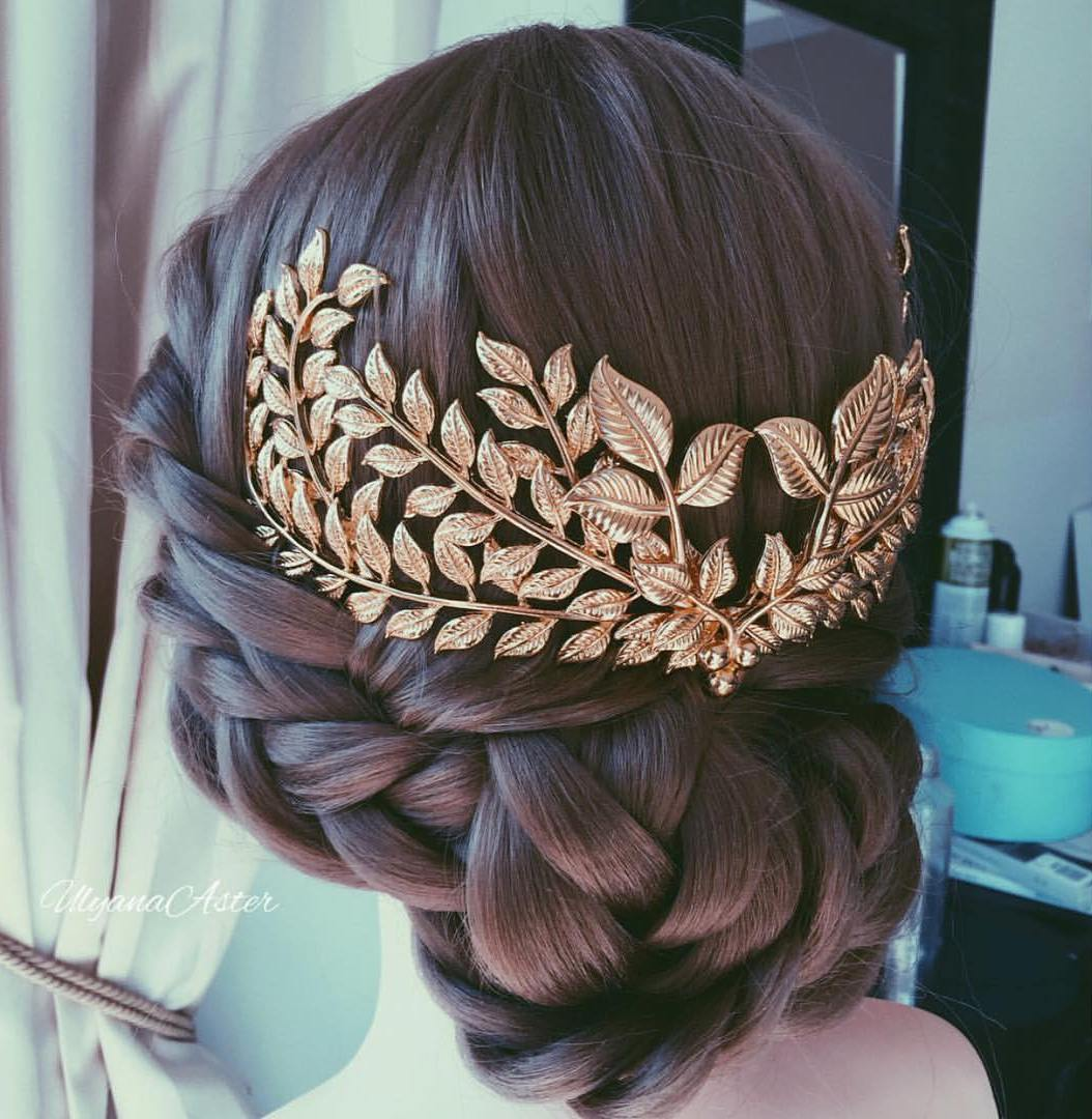 Leaf-Decorated Low Braided Updo