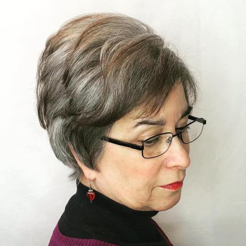 Gray Pixie For A 50-Year-Old Woman With Glasses