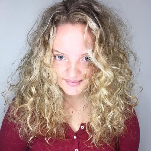 Medium-To-Long Blonde Hairstyle for Curly Hair