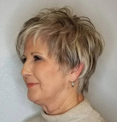 Feathered Gray Cut with Highlights and Lowlights