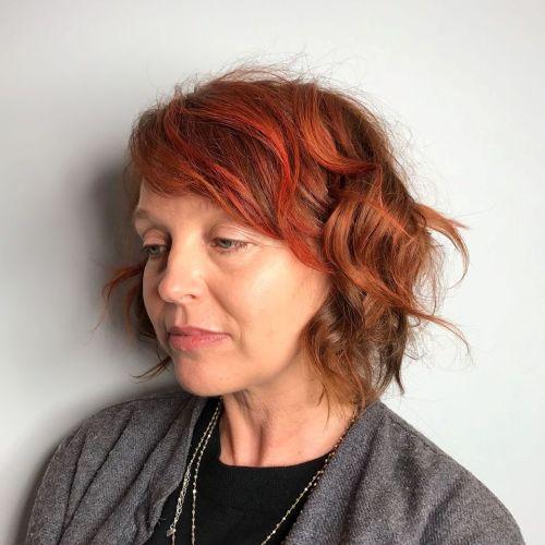 Side-Swept Fringe For Curly Hair