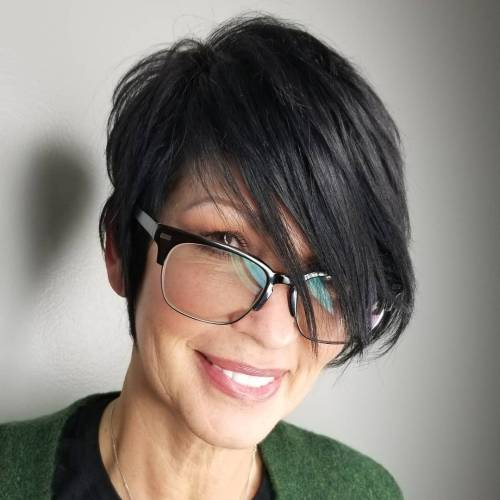 Straight Black Pixie With Long Side Bangs