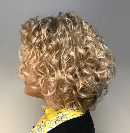 Curly Blonde Balayage Bob