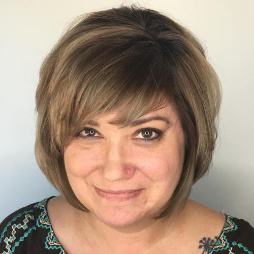 Over Bronde Balayage Bob with Bangs