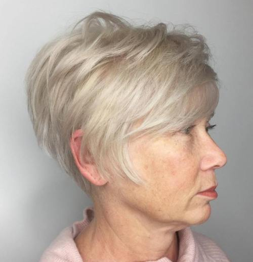 Ash Blonde Layered Pixie For Older Women