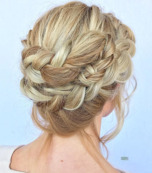 Romantic Double Lace Braid Updo