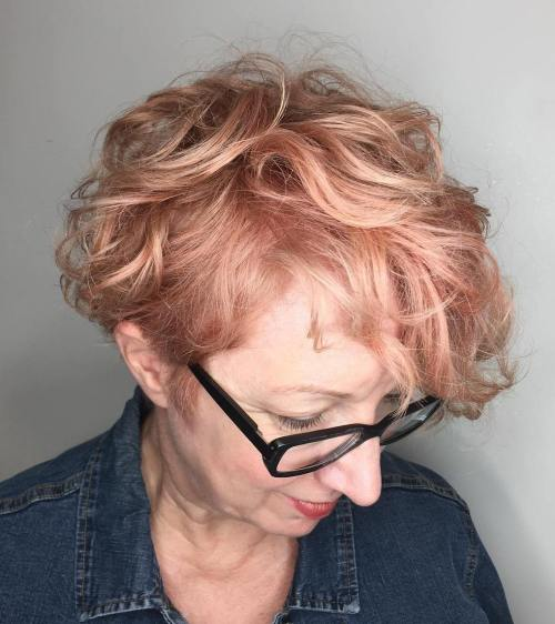 50+ Short Curly Strawberry Blonde Hairstyle