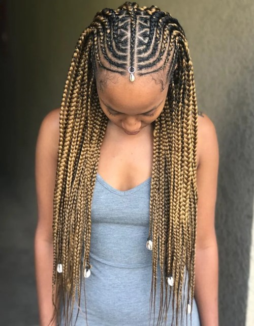 Geometric Fulani Braids with Golden Bronde Extensions